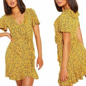 Boohoo Animal Print Ruffle Dress